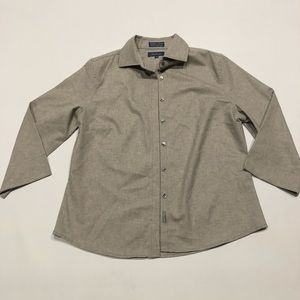 🌵 Faconnable wool gray button 3/4 shirt M